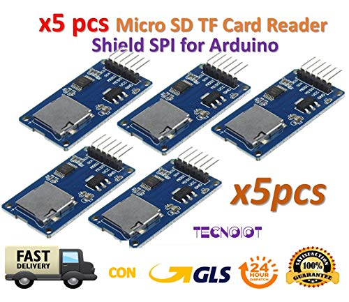 TECNOIOT 5pcs Micro SD Storage Board TF Card Reader Memory Shield Module SPI