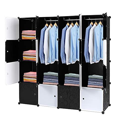 LIBYPNV 16 estantes de almacenamiento de alambre, organizador de armario, multifuncional modular con barra para colgar en blanco y negro