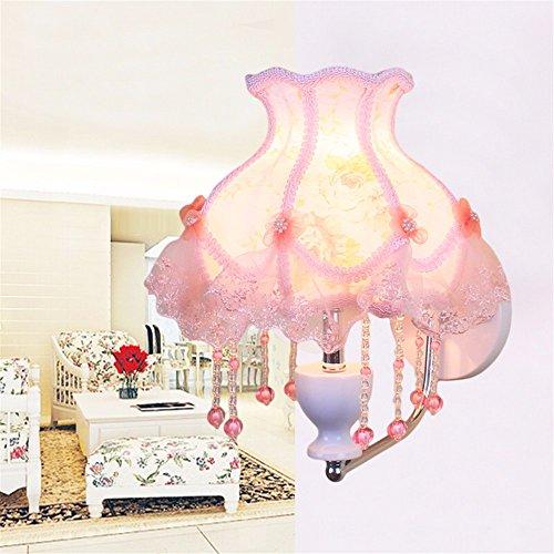 JJZHG wandlamp wandverlichting slaapkamer wandlamp LED warme romantische prinses kamer kaptafel wandlamp tuin wandlamp, romantische poeder + gloeilamp + stekker dimmer
