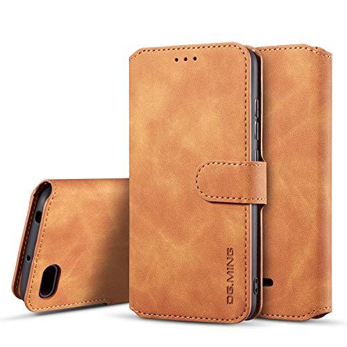 xinyunew Hülle Kompatibel mit Xiaomi Redmi 6A 360 Grad Handyhülle + Panzerglas Premium Handy Schutzhülle Leder Wallet Tasche Flip Brieftasche Etui Schale (Braun)