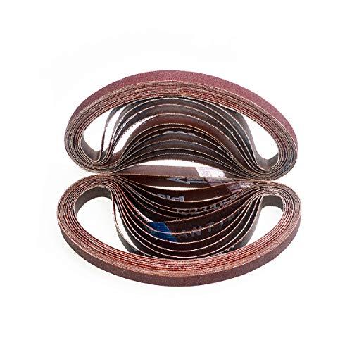 Aiyard 1/2 x 18-Inch Aluminum Oxide Sanding Belts, 40/60/80/120/180/240 Assorted Grits Abrasive File Belts for Air Belt Sander, 24-Pack