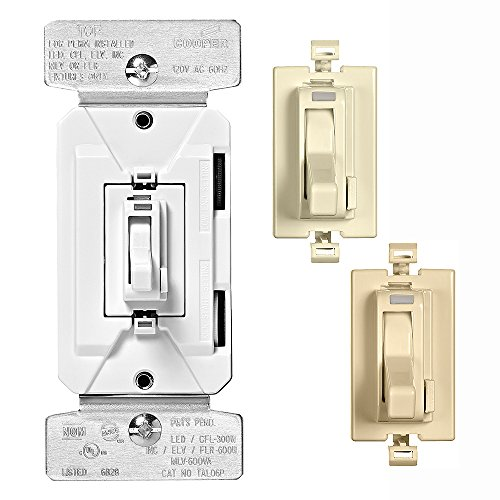 EATON TAL06P2-C1 Al Series 300W Dimmable LED/CFL All-Load Toggle Dimmer with Color Change Kit, Almond, White, Ivory