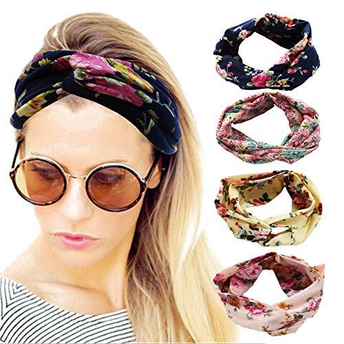 Elacucos Lot de 4 bandeaux pour femme Style bohème