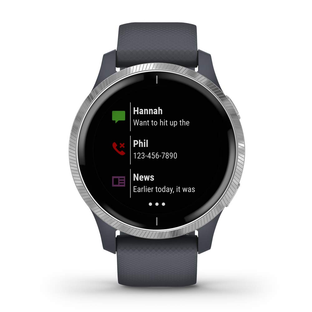Garmin Venu, GPS Smartwatch with Bright Touchscreen Display, Features Music, Body Energy Monitoring, Animated Workouts, Pulse Ox Sensors and More, Granite Blue and Silver
