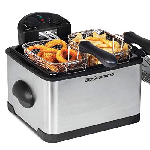 Maxi-Matic 1700-Watt Stainless-Steel Triple Basket Electric Deep Fryer with Timer and Temperature Knobs and Odor Free Filter, 4.2L/17-Cup