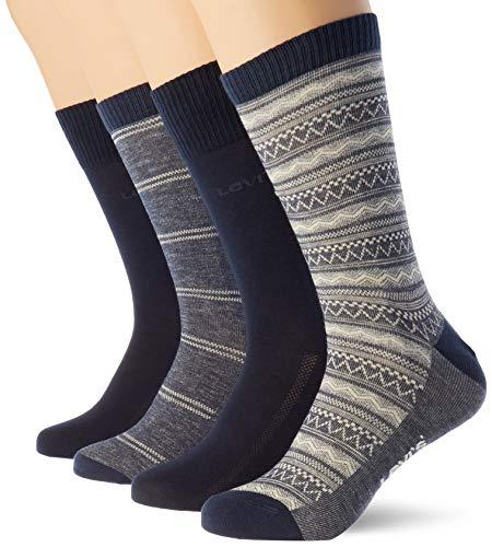 Levi's Denim Fair Isle Regular Cut Socks Giftbox (4 Pack) CALCET, combo azul, 43/46 (Pack de 4) Unisex adulto