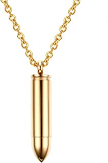 Gold Stainless Steel Cylinder Bullet 50mmPendant, Urn Necklaces for Ashes, Free Chain 20