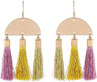 Colorful Created Silk Thread Tassel Fringe Earrings Online Shopping India Handmade Big Ethnic Earrings