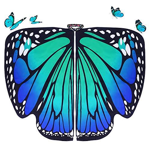 DURANTEY Chal Alas de Mariposa Disfraz de Mariposa Adulto de Tela Suave Bonitas Alas de Mariposa para Mujer Accesorio para Disfraz de Carnaval/ Fiesta/Baile/Mascarada/Cosplay/Halloween - Azul y Verde