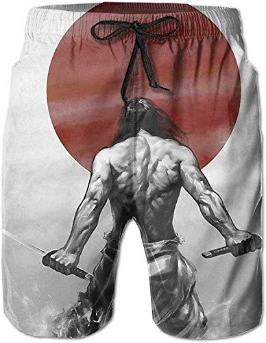 GYYbling Japón SamuraiPattern Hombres/Niños Pantalones Cortos Casuales Bañadores Traje de baño Pantalones de Playa con Cintura elástica con Bolsillos