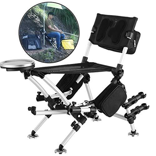 ZAQI Angelstühle campingstühle Kleiner tragbarer Angelstuhl mit Rutenhalter/Rückenlehne/ausziehbaren Beinen/Rucksack, zusammenklappbarer schwarzer Außenhocker, Tragkraft 150 kg