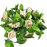 Falsa Artificial seda rosa flor hiedra vid colgante Garland boda Decoración para el...