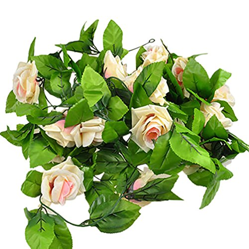 Falsa Artificial seda rosa flor hiedra vid colgante Garland boda Decoración para el hogar–blanco ameesi