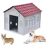 Casetas para Perros Grandes Exterior Impermeables, Caseta de Plastico para Perros, Caseta Perros Exterior con Puerta, Casa Perro Mediano, Casa Perro Grande, Casa P(Size:S (1-30kg animal),Color:rojo)