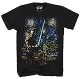 STAR WARS Starry Night Luke Skywalker Yoda X-Wing Van Gogh Adult Men's Graphic Tee Apparel T-Shirt Black (X-Large)