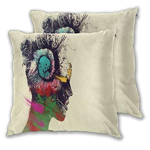 WINCAN Juego de 2 Decorativo Funda de Cojín,Pintura de Cara de Mujer Negra y Verde Corazón psicodélico Fondo Simple Mujer Doble exposición Arte Digital Colorido,Funda de Almohada Cuadrado para Sof