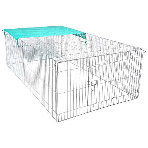EUGAD Hasengehege Freigehege Kaninchenstall Freilauf Kleintiergehege mit Ausbruchsperre Sonnenschutz 0003TSL