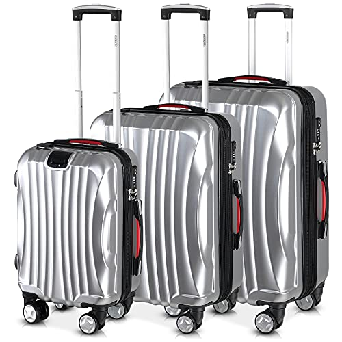 Monzana Set de 3 Maletas Ikarus Plata M L XL Puerto USB Juego de valijas de Viaje Equipaje 38L 90L 105L