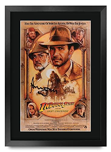 HWC Trading Indiana Jones and The Last Crusade A3 Enmarcado Regalo De Visualización De Fotos De Impresión De Imagen Impresa Autógrafo Firmado por Harrison Ford Los Aficionados Al Cine
