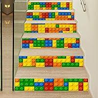 階段ステッカー 自己粘着階段ステッカービルディングブロックパターンウォールステッカー壁画家の装飾6個 (色 : Multi-colored, Size : 100*18CM)