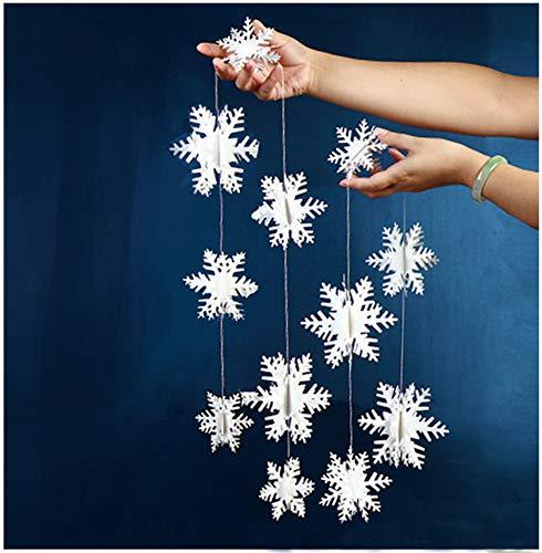 Yuccer 3D Schneeflocke Hanging Dekorationen, Papier Schneeflocke Girlande für Weihnachten Silvester Party