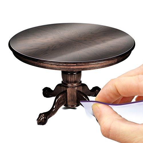 ANRO Tischfolie Tischschutz PVC Helltransparent Tischdecke 2mm Rund 120cm