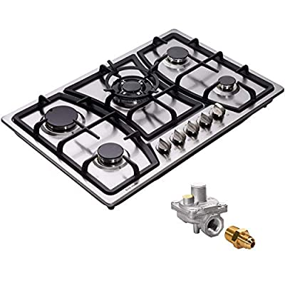 """30"""" Gas Cooktop Dual Fuel 5 Sealed Burners Stainless Steel Gas Burner Drop-In Gas Cooktop DM527-SA03Z LP/NG Convertible Gas Cooker"""