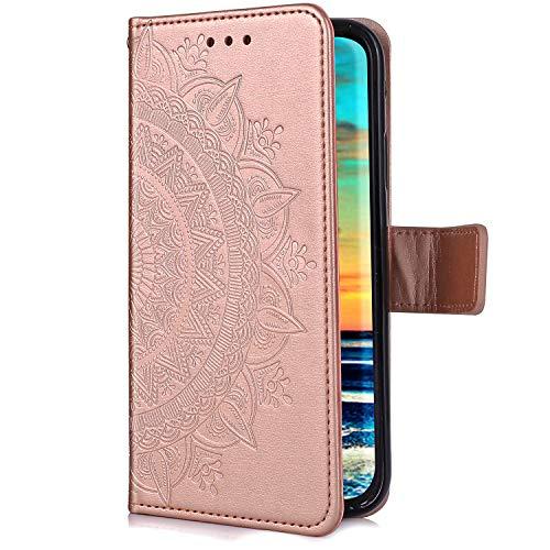 Uposao Huawei Y5 2018 Coque en Cuir PU,Mandala Fleur Motif Clapet Flip Cover Case Wallet Coque Pochette Portefeuille Etui a Rabat Magnétique Porte-Carte Téléphone Housse de Protection,Rose Gold