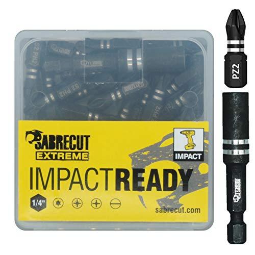 SabreCut SCPA25_21, Set di punte per avvitatore a percussione, 25mm, Pozidriv n. 2, resistenti, contenitore e porta punte inclusi, 21 pezzi