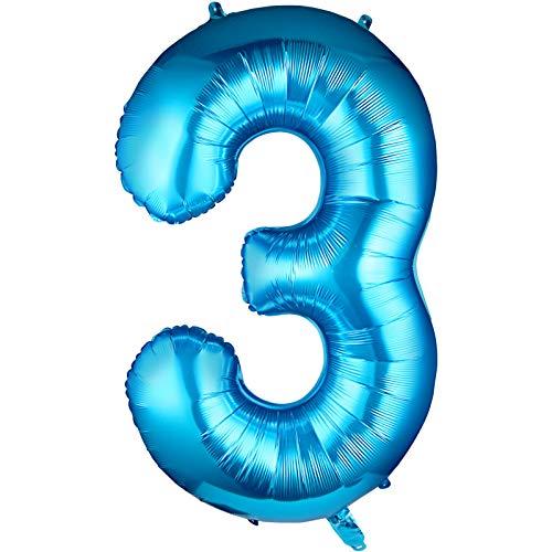 Siumir Numéro Ballon Numéro 3 Géant Bleu Numéro Ballon Foil Helium Ballon Fête danniversaire Ans Anniversaire Décoration,Ballons Chiffre