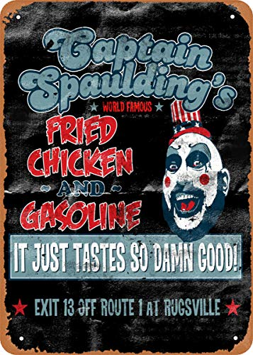NIUMOWANG Captain Spaulding's Fried Chicken Movies Vintage Look 8x12 Inches Metal Tin Sign Retro