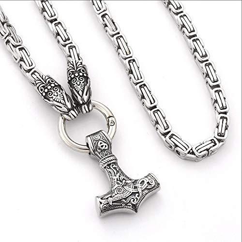 Norse Viking Thor's Hammer Talisman Collar, Acero Inoxidable Hombres Vintage Joyas Originales Vegvisir Mjolnir Brújula Amuleto Colgante - Cadena De Acero Inoxidable King, Unisex,Plata