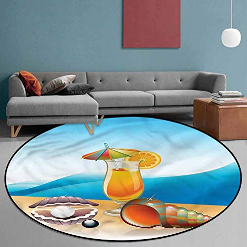 Pearls Polyester Noble Round Area Rug Suitable for Bathroom Kitchen Seascape Summer Beach 6' in Diameter