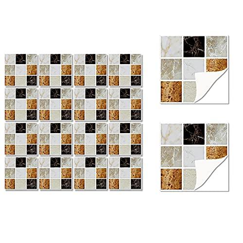 HUSTLE 36 Piezas de Pegatinas de Azulejos Estilo Retro Mosaico Adhesivo Pegatinas Autoadhesivas para Azulejos DIY Baño Cocina Pegatinas de Decoración Adhesivos de Pared 10x10CM