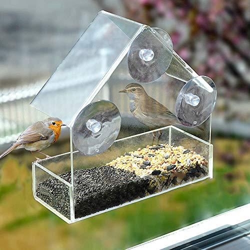 Vögel Futterhaus, Fenster Vogelfutterhaus, Transparent Vogelhäuschen mit Saugnäpfe & Dach, Acrylglas Futterstation für Vögel Wildvögel Parrot (A)