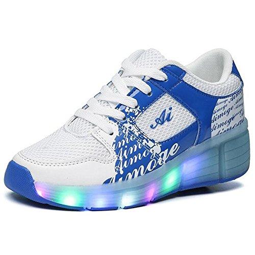 Lasymie Kinder Mädchen Jungen Rollschuhe Skates Sneakers, Blau - blau - Größe: 38 EU