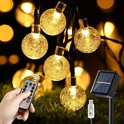 Naspaluro - Cadena de luces solares para exterior, 10 m, 60 ledes, interior USB, 8 modos con mando a distancia, IP65 USB, bola de cristal para jardín, patio, árbol, boda, fiesta, blanco cálido