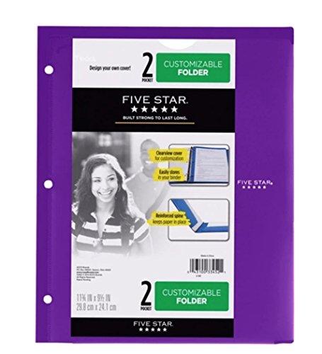 Five Star Customizable Plastic Folder 2 Pocket - Color Will Vary