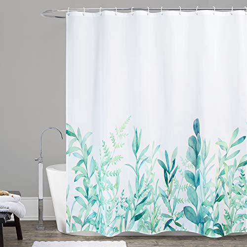 WELTRXE Fabric Shower Curtain with Hooks Green Eucalyptus Watercolor Floral Pattern Polyester Cloth Bathroom Curtains, Machine Washable, Waterproof, 72 x 72 Inches