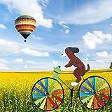 harupink Windrad Hund Katze, Windmühle Gartenstecker in Tierischem Design, Gartendeko für Kinder, Garten, Balkon und Terrasse 90 cm x 50 cm (Hund)