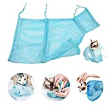Faith Force Cat Grooming Bag Bathing Shower Mesh Bag Adjustable Multifunctional Breathable Polyester Anti-Bite Anti-Scratch Cat Restraint Bag for Nail Trim/Examining/Ear Clean(Blue)