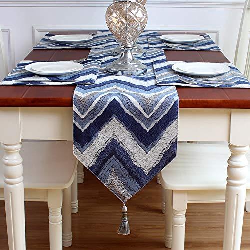 Eenvoudig Gestreept Katoen en Linnen Tafelloper, met Gevlochten Tafeldoek, Huisdecoratie voor Eettafel|TV-kast|Bruiloft | Diner|Gift 30x220cm Blauw-b