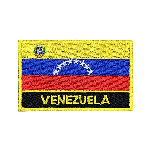Venezuela Flag Sew-On Morale Patch / International Embroidered Travel Patch Collection (Venezuelan Iron-On w/ Words, 2 x 3)