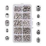 PH PandaHall 500pcs 10 Style Silver Spacer Beads Tibetan Alloy Column Tube Metal Spacers Jewelry Beads for Bracelet Necklace Jewelry Making Supplies