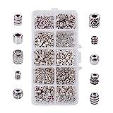 pandahall elite 1 scatola 500pcs perline distanziali in lega stile tibetano per gioielli fai da te, argento antico, 3,5-8x3,5-6,5 mm, foro: 1-4 mm, circa 50 pezzi/compartimento, 500 pezzi/scatola