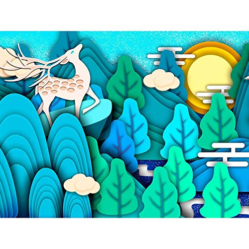 DIY 5D Diamond Painting by Number Kit,diamond painting kits for Adults and Beginner for Home Decor Cartoon Grass Deer 15.7x11.8 in By Bemaystar