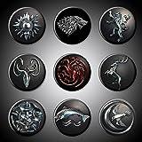 Game of Thrones Magnets House Sigils GOT Symbols Set of 9 Plus Title Bonus Stark Lannister Baratheon Targaryen Tully Arryn Martell Greyjoy Tyrell TV series show (Magnet, 1.75' (1.75 Inches))