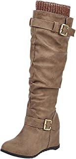 AbbyAnne Women Vintage Pull On Knee High Boots High Heeled Slouch Boots