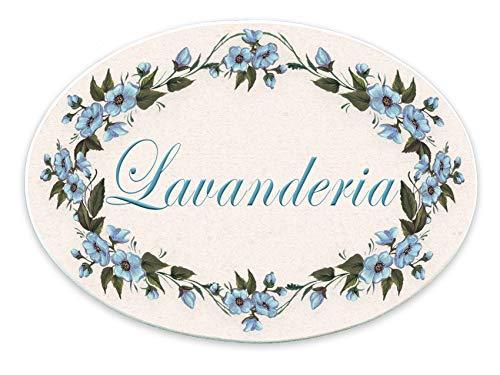 Domus Artis Targa Porta Shabby Chic Fiori Blu Ovale 20x15 (Lavanderia)