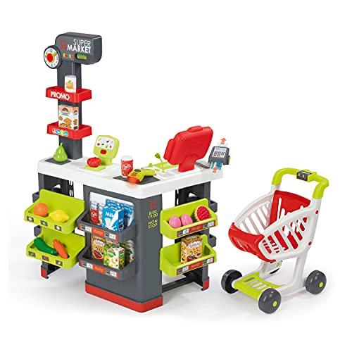 Smoby - Supermarkt mit Einkaufswagen - Spielsupermarkt mit Licht, Sound und Elektronischen...